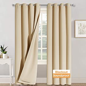 RYB HOME 3-in-1 Set Sound Absorbing Blackout Thermal Insulation Curtains, Inside Detachable Felt Liner Noise Reduce Sunlight Block for Daytime Sleep Bedroom, Biscotti Beige, Wide 52 x Long 108, 1 Pair