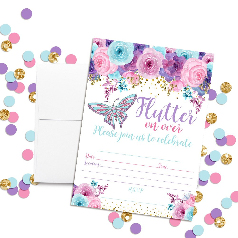 Amanda Creation Watercolor Floral Butterfly Birthday Party Fill in Style Invitations in Pink, Blue and Purple. Set of 20 Including envelopes by Amanda Creation (Image #1)