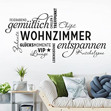 Klebeheld Wandtattoo Wohnzimmer Wortwolke Vip Lounge Zuhause