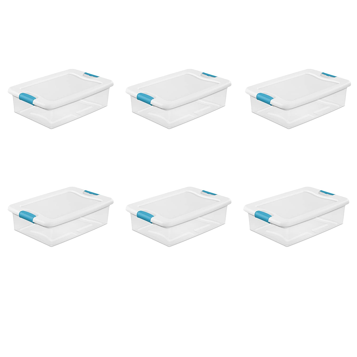 Sterilite 1496800632 quart/30 L Latching Box with Clear Base, White Lid and Colored Latches, 6-Pack