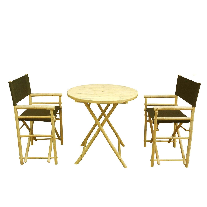 Amazon.com: Zew bambú 3 piezas Bistro juego de comedor con ...