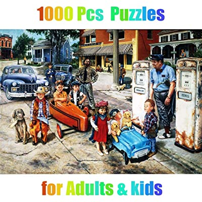 PartyYeah 1000 Pieces Jigsaw Puzzles, Large Puzzle Sets for Family, Cardboard Puzzles, Educational Games, Brain Challenge Floor Puzzle Toy for Kids Childrens Adults Grown Ups (Car & Kids): Home & Kitchen