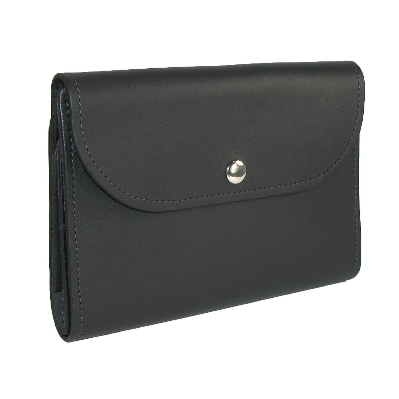 CTM Leather Deluxe Top Stub Checkbook Wallet, Black