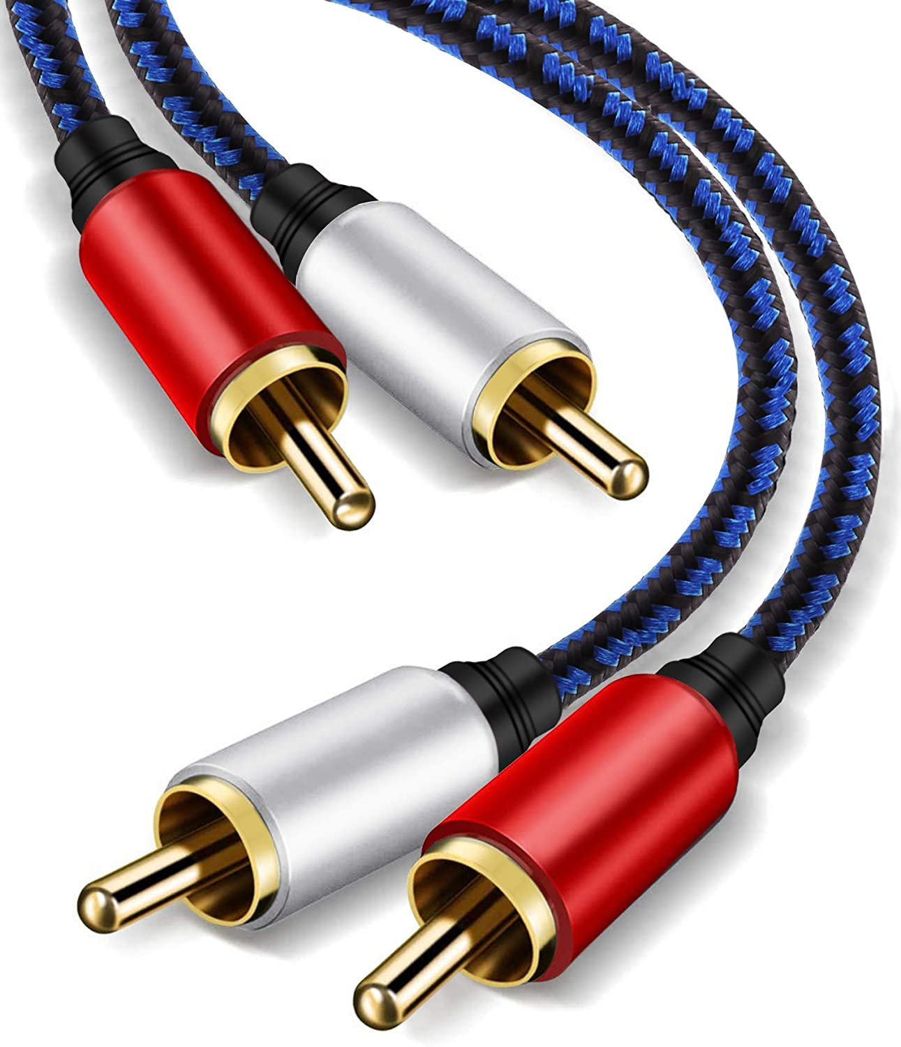RCA Stereo Cable 15ft,NC XQIN 2RCA Male to 2RCA Male Stereo Audio Cable Gold Plated.for Home Theater, HDTV, Amplifiers, Hi-Fi Systems