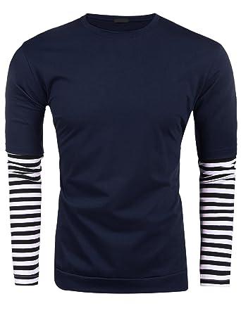 Burlady Langarmshirt Herren Tshirt Tops Shirts Rundhals Langarm Gestreift T- Shirt Freizeit Basic: Amazon.de: Bekleidung