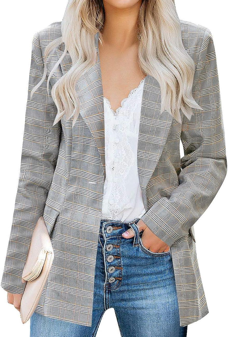 luvamia Women's Casual Long Sleeve Lapel Button Slim Work Office Blazer Jacket