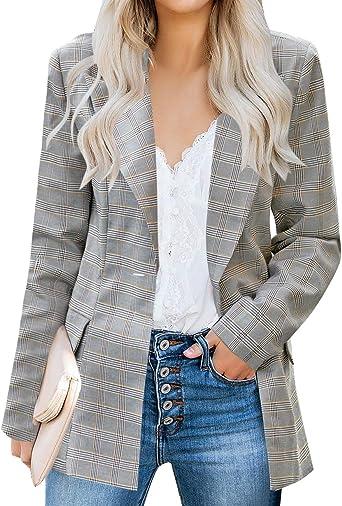 Luvamia Women S Casual Long Sleeve Lapel Button Slim Work Office Blazer Jacket At Amazon Women S Clothing Store