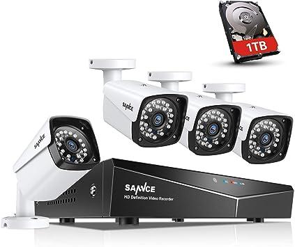 sin Disco Duro SANNCE Kit de Seguridad 8CH DVR 1080N 5-en-1 sin Disco Duro 1080P 4 C/ámaras de Sistema de Vigilancia IP66 Impermeable IR-Cut LEDs Acceso remoto