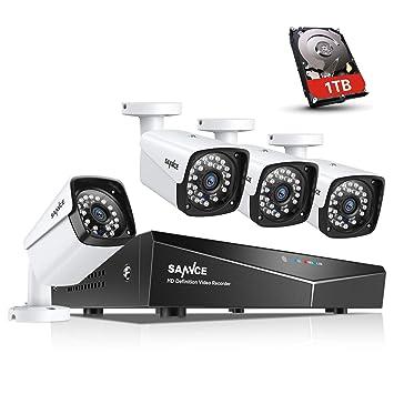 SANNCE XPoE Kit de 4 Cámaras de Vigilancia Seguridad 1080P CCTV 4CH NVR P2P y 4 Camaras 2MP IP66 Impermeable IR-Cut 36 LEDs con 1TB Disco Duro de ...