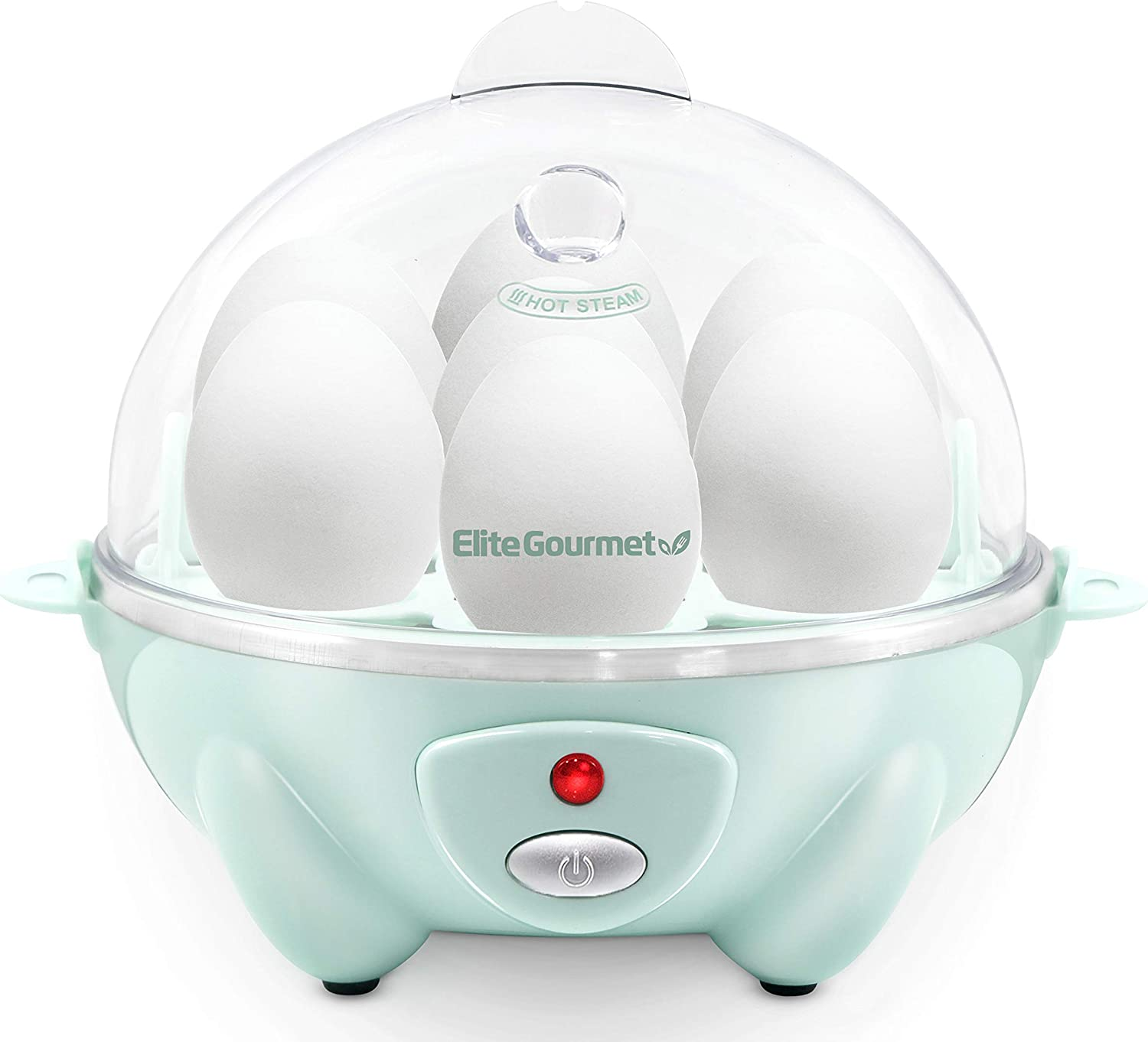 Elite Gourmet EGC007M EGC-007M Easy Electric Poacher, Omelet Soft, Medium, Hard-Boiled Boiler Cooker with Auto Shut-Off and Buzzer, BPA Free, 7 Egg Capacity, Mint