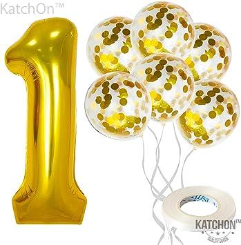 Amazon.com: Globos de confeti grandes y número 1 y dorados ...