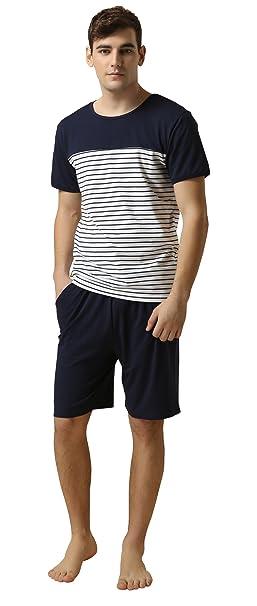 b2aee049abf Suntasty Men s Summer Sleepwear Lounge Set Stripe Short Sleeve Pajamas Top  with Solid Shorts Blue S
