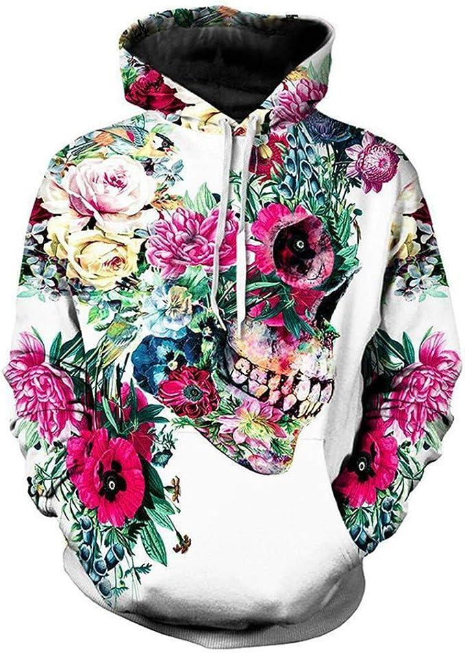 Hoodies for Men Zipper Big and Tall,Forthery 3D Print Halloween Long Sleeve Novelty Hoodie Pullover Fleece Sweatshirt