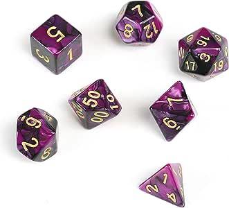 GWHOLE 7 Piezas Dados Poliédricos Dados para Juegos de rol y Mesa Dungeons y Dragons DND RPG MTG con Bolsa Negra (Negro Violeta): Amazon.es: Juguetes y juegos