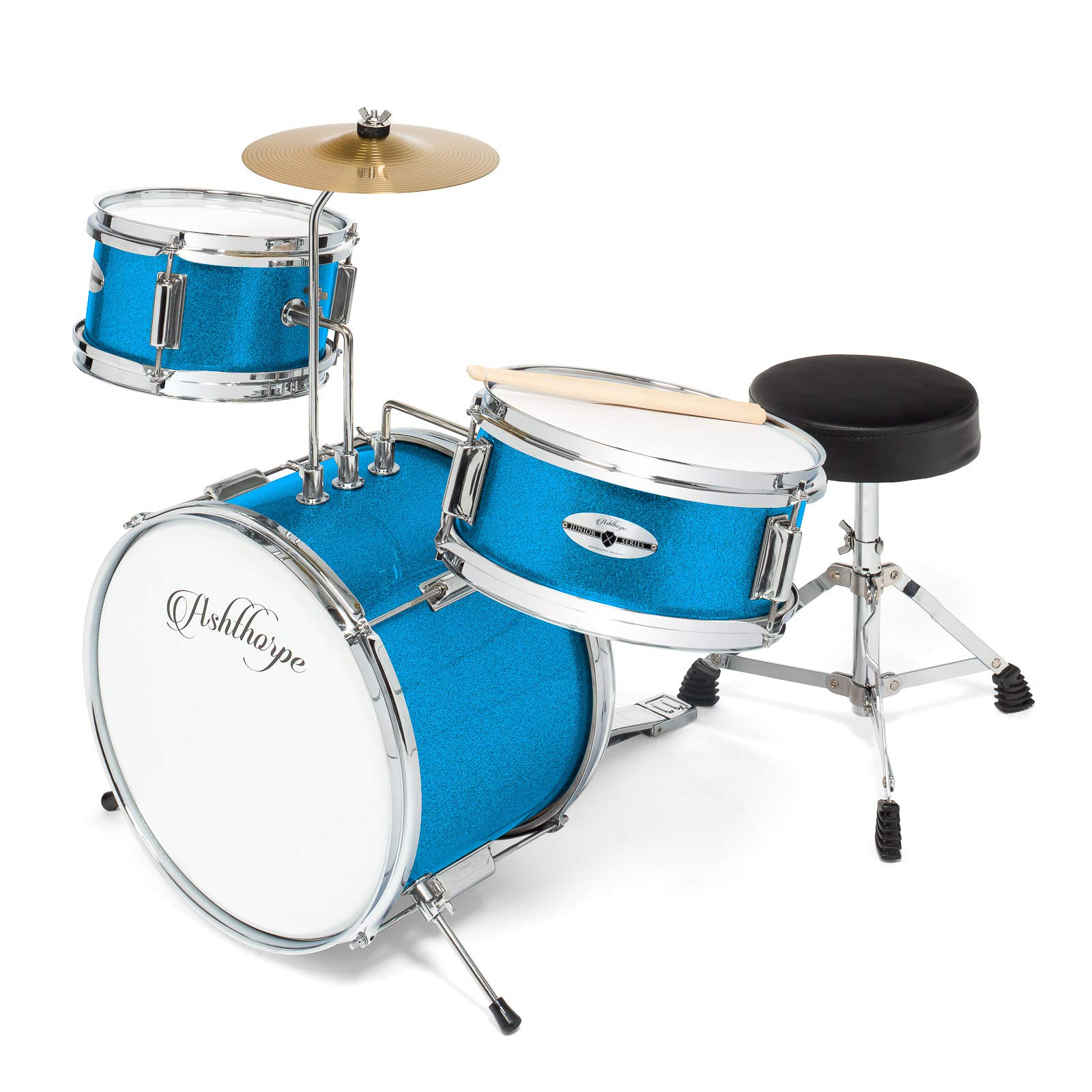 Ashthorpe 3-Piece Complete Kid's Junior Drum Set - Children's Beginner Kit with 14'' Bass, Adjustable Throne, Cymbal, Pedal & Drumsticks - Blue by Ashthorpe (Image #1)