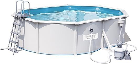 Bestway - Piscina desmontable de acero hydrium oval 500x360x120 cm + depuradora de arena: Amazon.es: Jardín