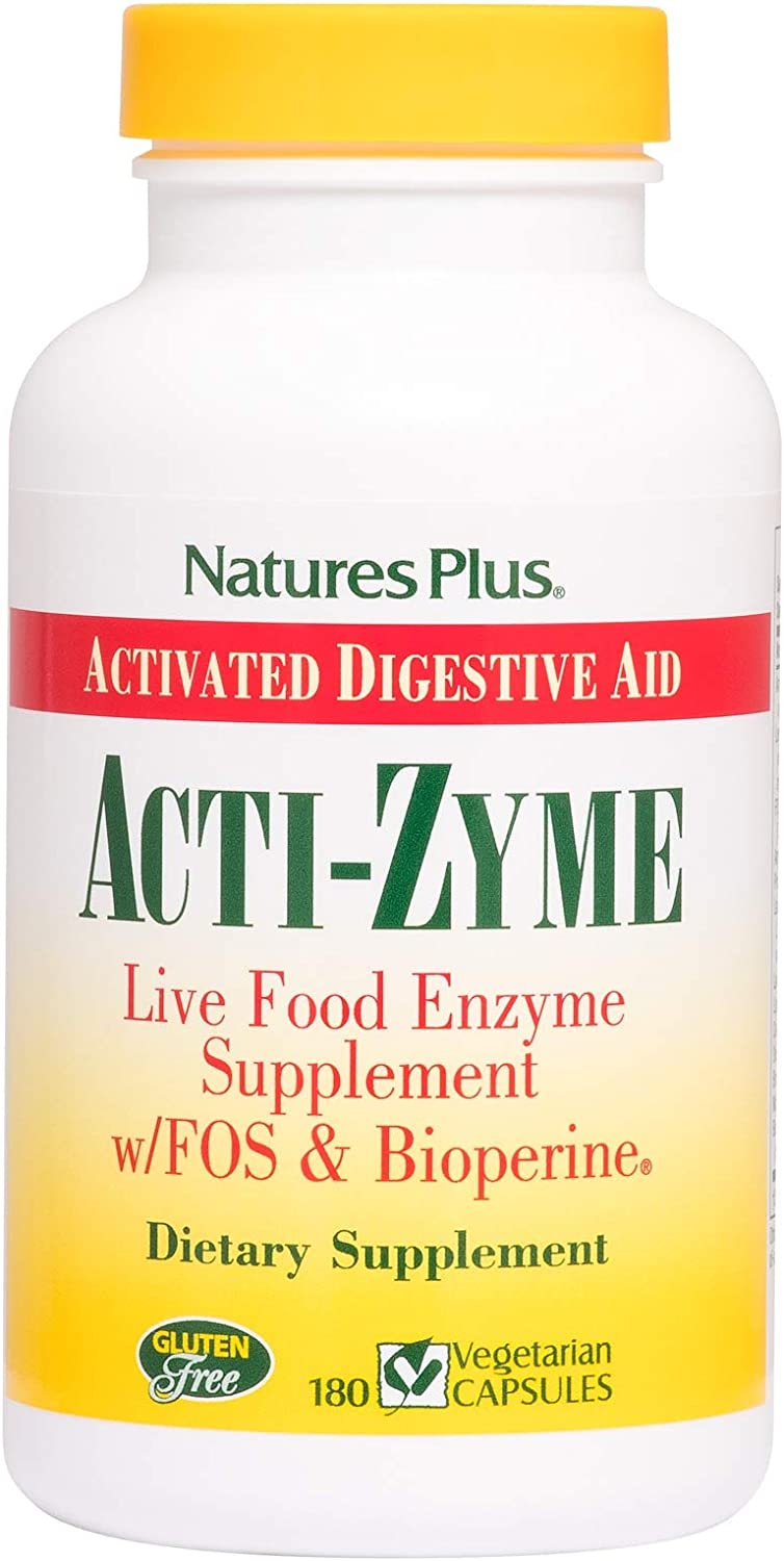 NaturesPlus ActiZyme - 180 Vegetarian Capsules - Gut Health Supplement, Contains Digestive Enzymes, Probiotics, Aminogen, Bioperine - Gluten-Free - 90 Servings