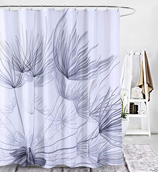 Bathroom Shower Curtain Rings Hook Set Printed Polyester Fabric Waterproof Decor