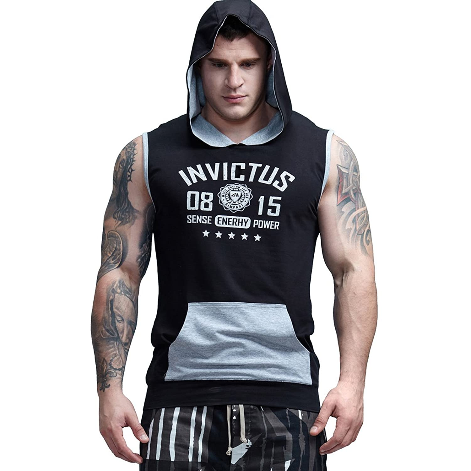3eda9ce934e03 Top1  AIMPACT Cotton Sleeveless Hoodie Men Half Zip Fitted Workout  Bodybuilding Stringer Gym Athletic Muscle Shirt Tank Top Hoodie