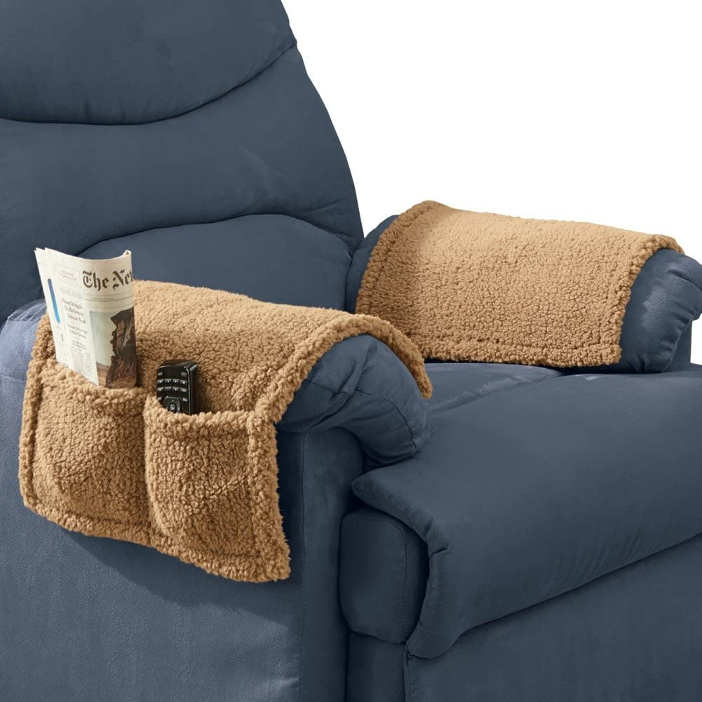 Armchair Covers With Pockets Set Of 2 Tan