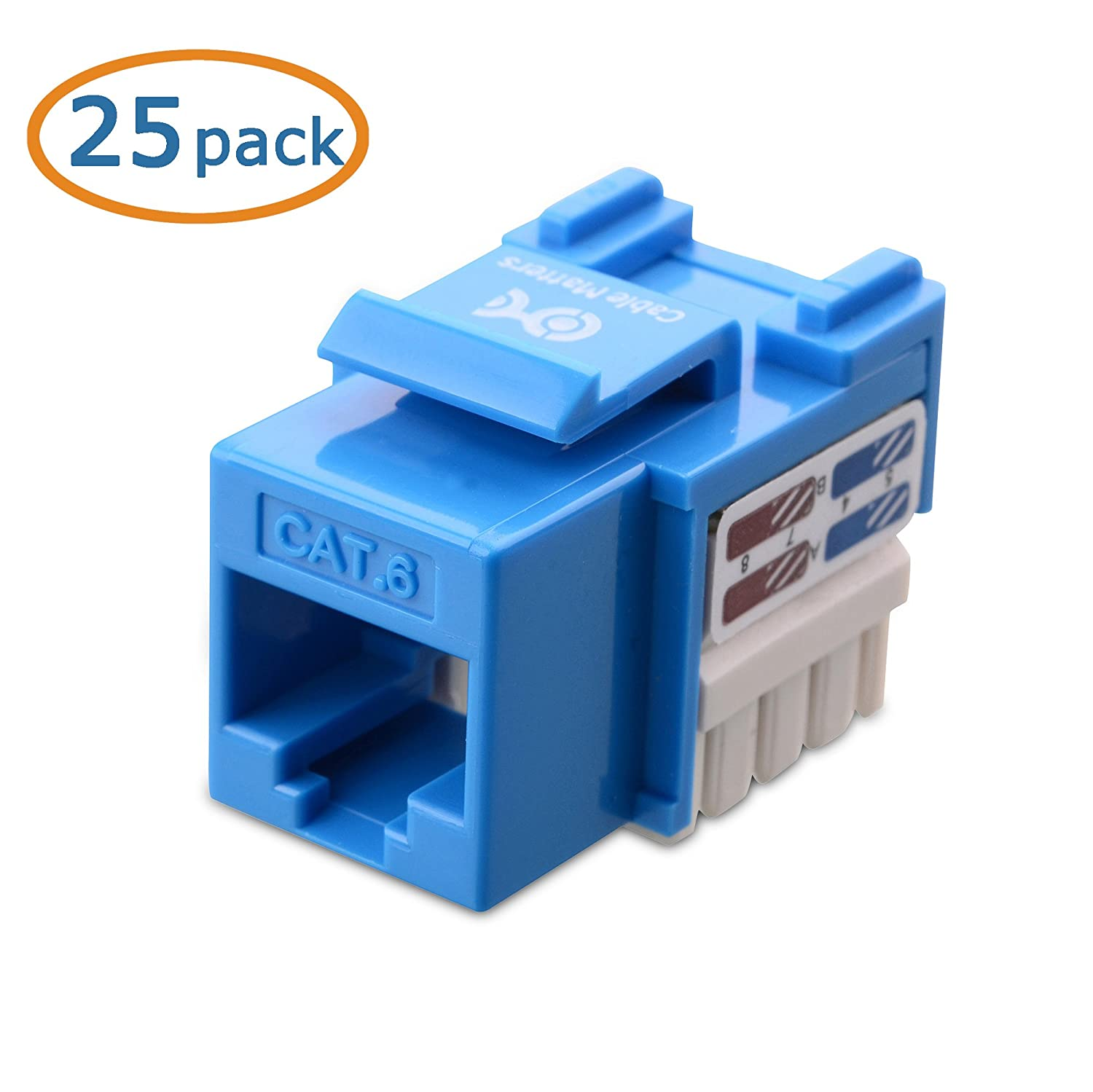 Cable Matters 25 Pack Cat6 Rj45 Keystone Jack In Blue And Cat5e Wire Diagram Punch Down Stand Computers Tablets