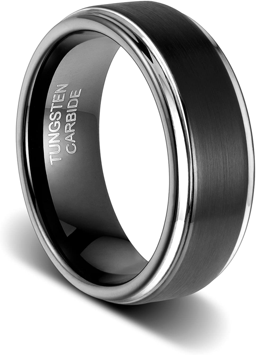 TUSEN JEWELRY 8mm Mens Wedding Band Black Tungsten Carbide Ring Matte Brushed Step Edge