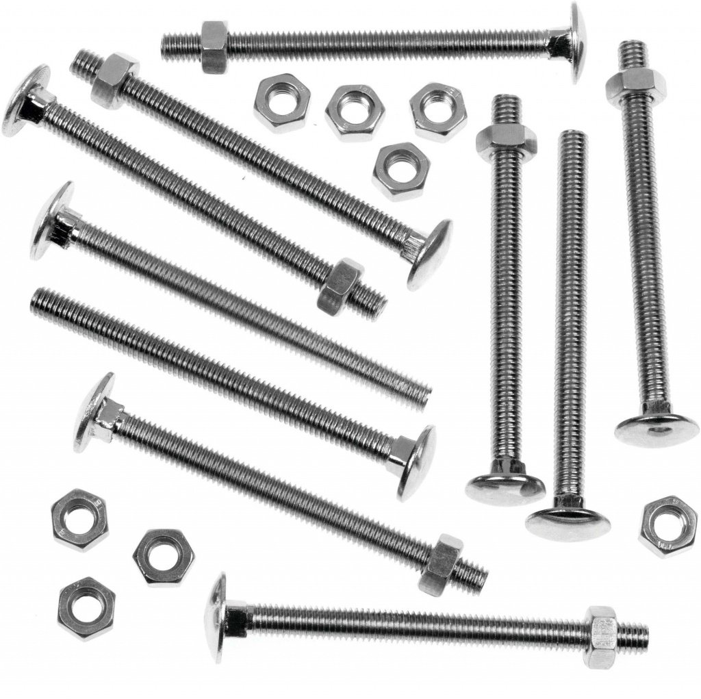 Carriage Bolt Zinc Plated 6mm x 100mm Cup Square Hex Bolts Coach Bolt Hex Nut and Washers M6 x 100 25 Pack