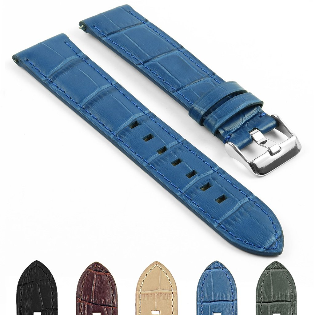 DASSARIクイックリリースクロコダイルエンボス加工レザー時計ストラップバンド20 mm 22 mm 22mm ブルー 22mm|ブルー ブルー 22mm B06WW1HMB8