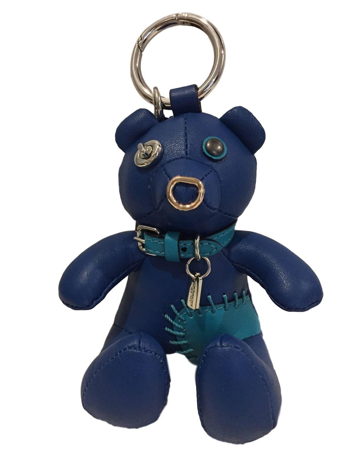 COACH Leather Limited Edition Holiday Bear Bag Charm ''ACE'' Blue Teddy 56743