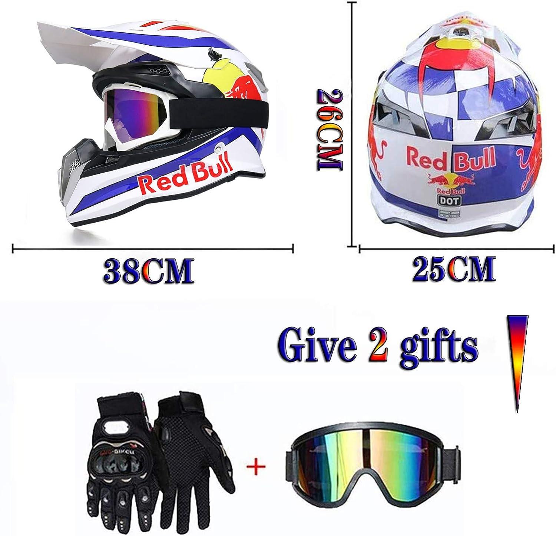 Fullface Helm Motorradhelm Fahrradhelm Abs Dot Ece Zertifizierung Four Seasons Large Rally Helm Mountainbike Dh Downhill Helm Brillenhandschuhe Red Bull Sport Freizeit