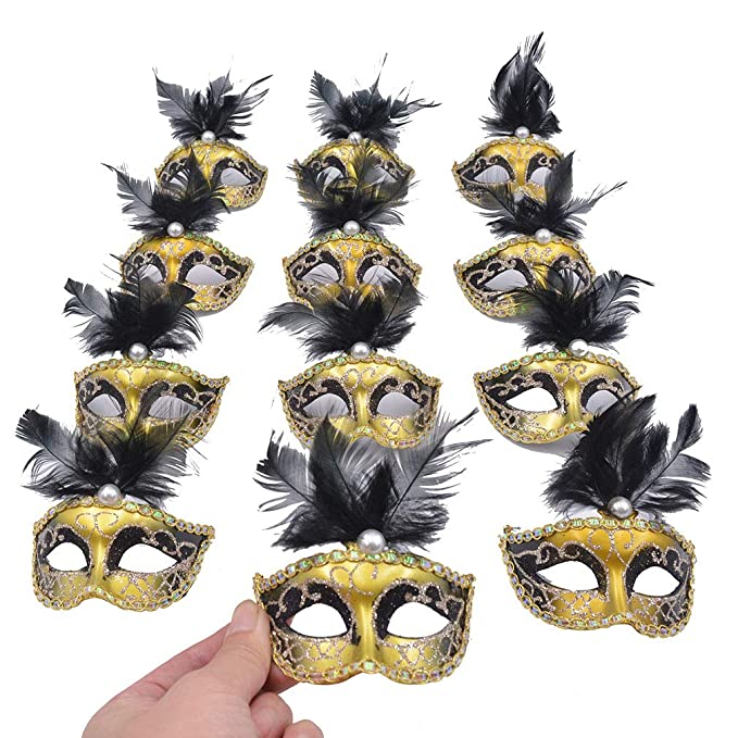 Amazon Com Yiseng Mini Masquerade Mask Party Decorations 12pcs Pack