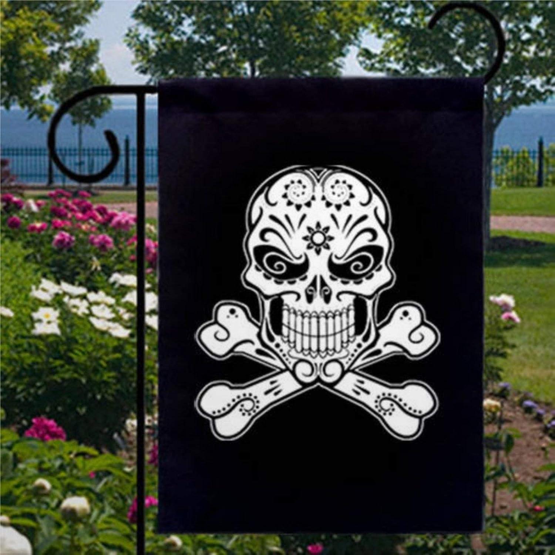 BYRON HOYLE Sugar Skull Crossbones Garden Flag Decorative Holiday Seasonal Outdoor Weather Resistant Double Sided Print Farmhouse Flag Yard Patio Lawn Garden Decoration 12 x 18 Inch