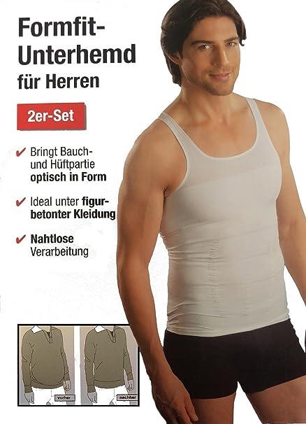 Emanhu Trading 2er Set Formfit Unterhemd Herren Bauch Weg Nahtlos M