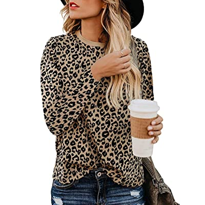 Women's Leopard Print Blouses Long Sleeve Crewneck Basic Casual Top Soft Shirts: Clothing