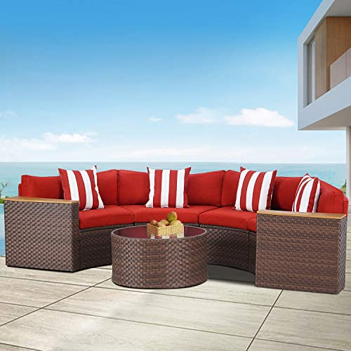 Patiomore 5-Piece Outdoor Sectional Half-Moon Conversation Set All Weather Brown Wicker Sectional Sofa with Round Tempered Glass Table and Red Cushions