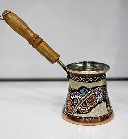 Hecho a mano cobre leche calentador hornillo, olla, acero inoxidable, hecho a mano pintado a mano en Turquía, Gran Tamaño