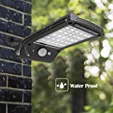 Solar Lights Outdoor, Hallomall 36 LED Solar Motion Sensor Lights with Mounting Pole Gutter Solar Lights for Patio Barn Garage, Pack of 1
