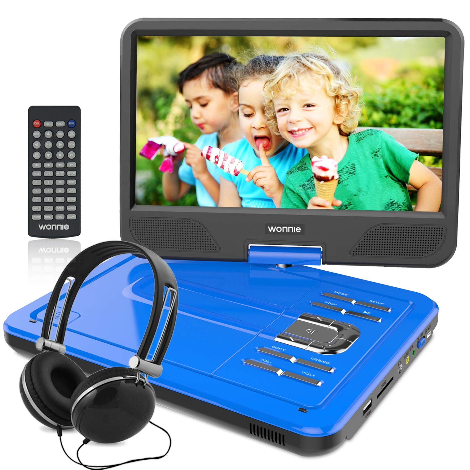WONNIE 12.5 Inch Portable DVD Player with 4 Hour Rechargeable Battery,10.5'' Swivel Screen, USB/SD Slot (BLUE)