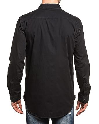 Chemise Jeans zippée Homme BLZ Longue Noire Fashion nWxv67PU