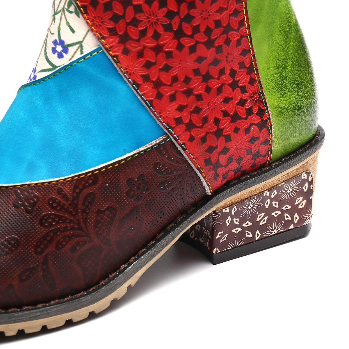 5c1392d12132b5 Camfosy Bottes Hautes Plates Femmes, Bottes Hiver en Cuir à Talons Plats  Carres Cuissardes Chaussures Ville ...