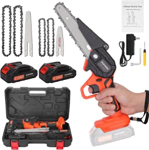 Mini Chainsaw Cordless 6 Inch, Handheld Chainsaw with Replacement 4Inch and 6Inch Guide Plates, Electric Chainsaw Cordless with 2 Batteries 4 Chains For Cutting Wood, Tree Trimming, Garden Pruning
