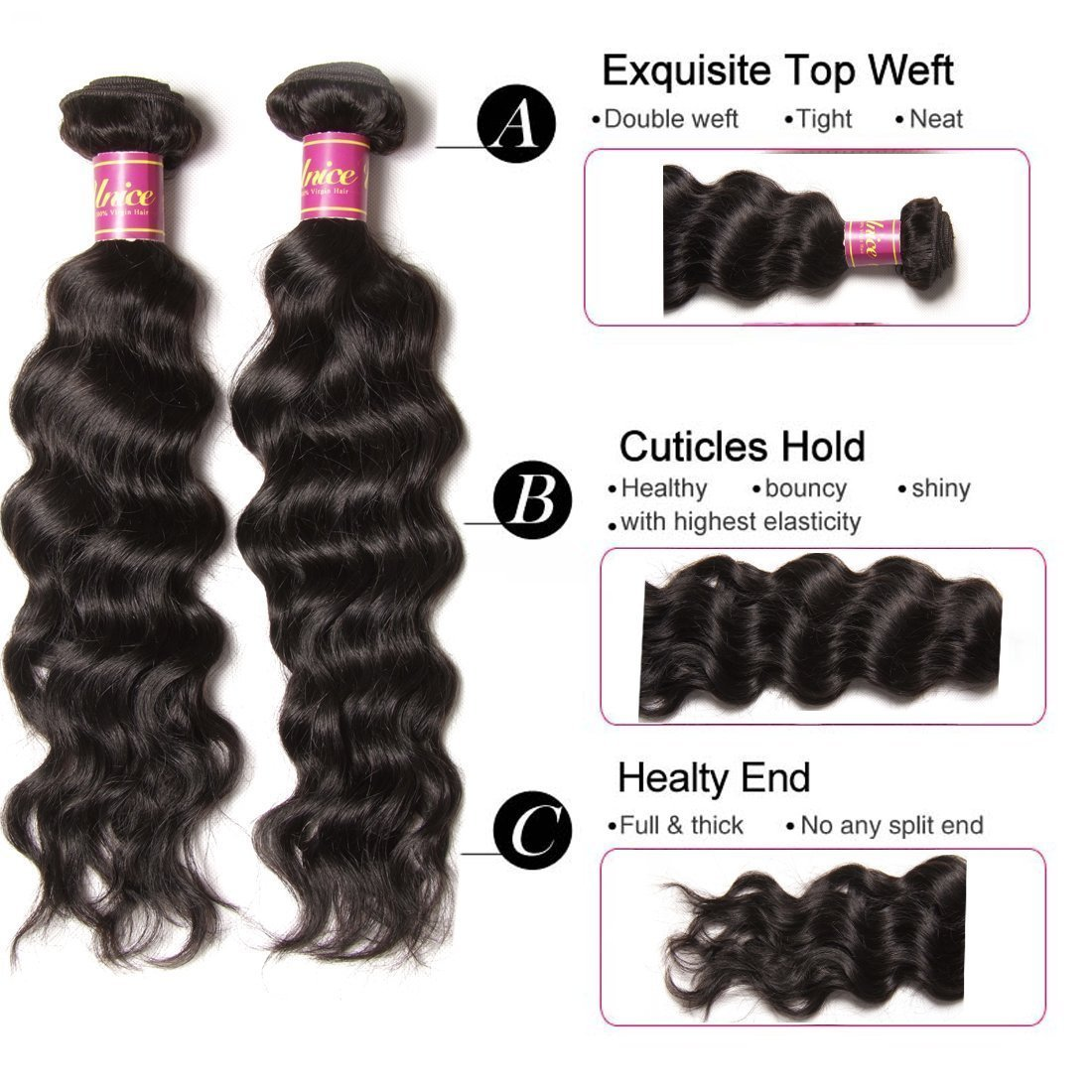 Unice 7A Grade Brazilian Natural Wave Hair 100% Virgin Human Hair 3 Bundles with Closure Natural Color (20 22 24+18Free Closure) by UNICE (Image #4)