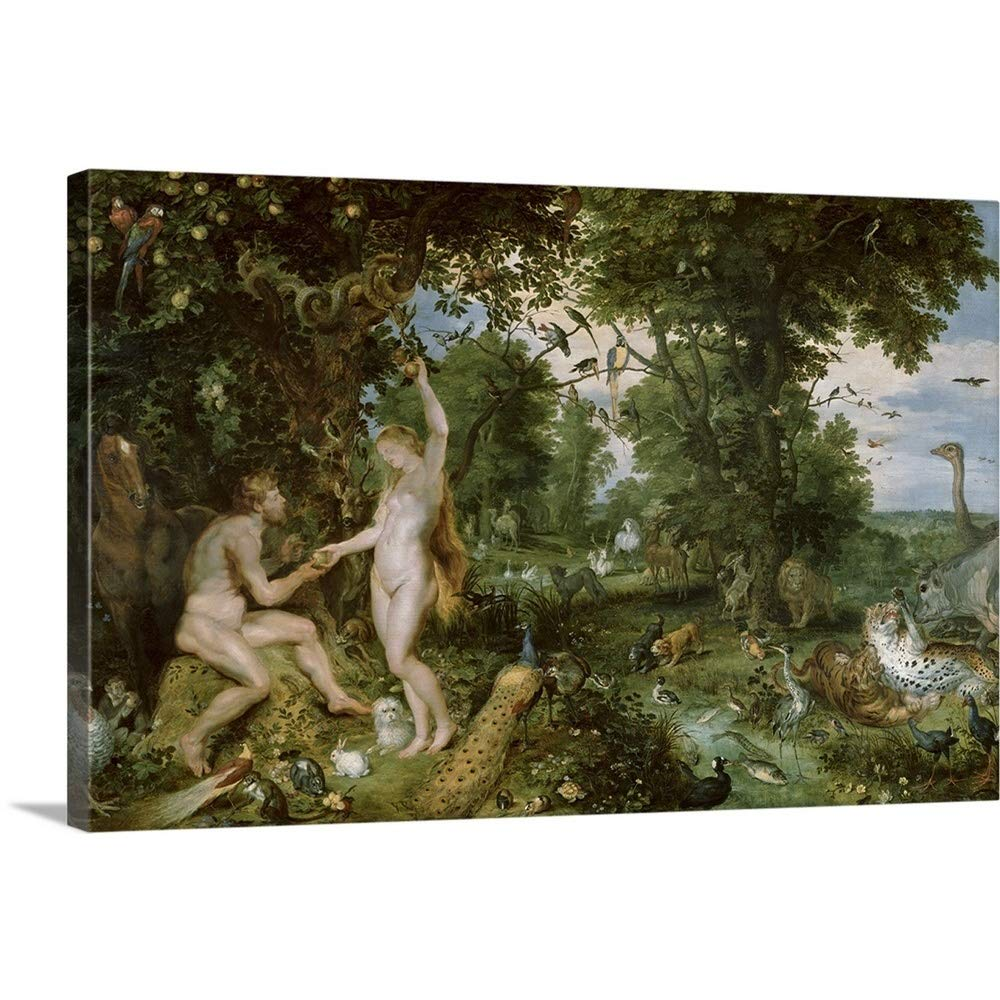 GREATBIGCANVAS Gallery-Wrapped Canvas Entitled The Garden of Eden with The Fall of Man, c.1615 by Jan Bruegel The Elder 60''x40''
