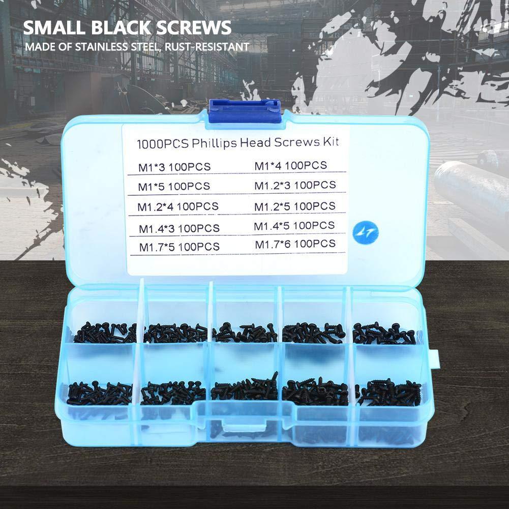 M1.2 Assortiment de petites vis M1.4 M1.7 Kit de 10 boulons autotaraudeurs cruciformes en acier inoxydable 1000 pi/èces M1