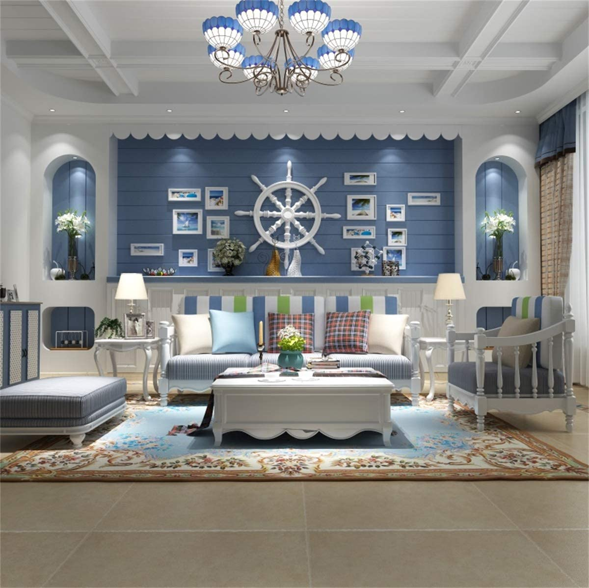 YEELE Classic Living Room Photography Backdrop 9x9ft Nautical Style Home Interior Background Blue Theme House Home Design Cozy Apartment Kids Adult Portrait Photo Studio Props Wallpaper