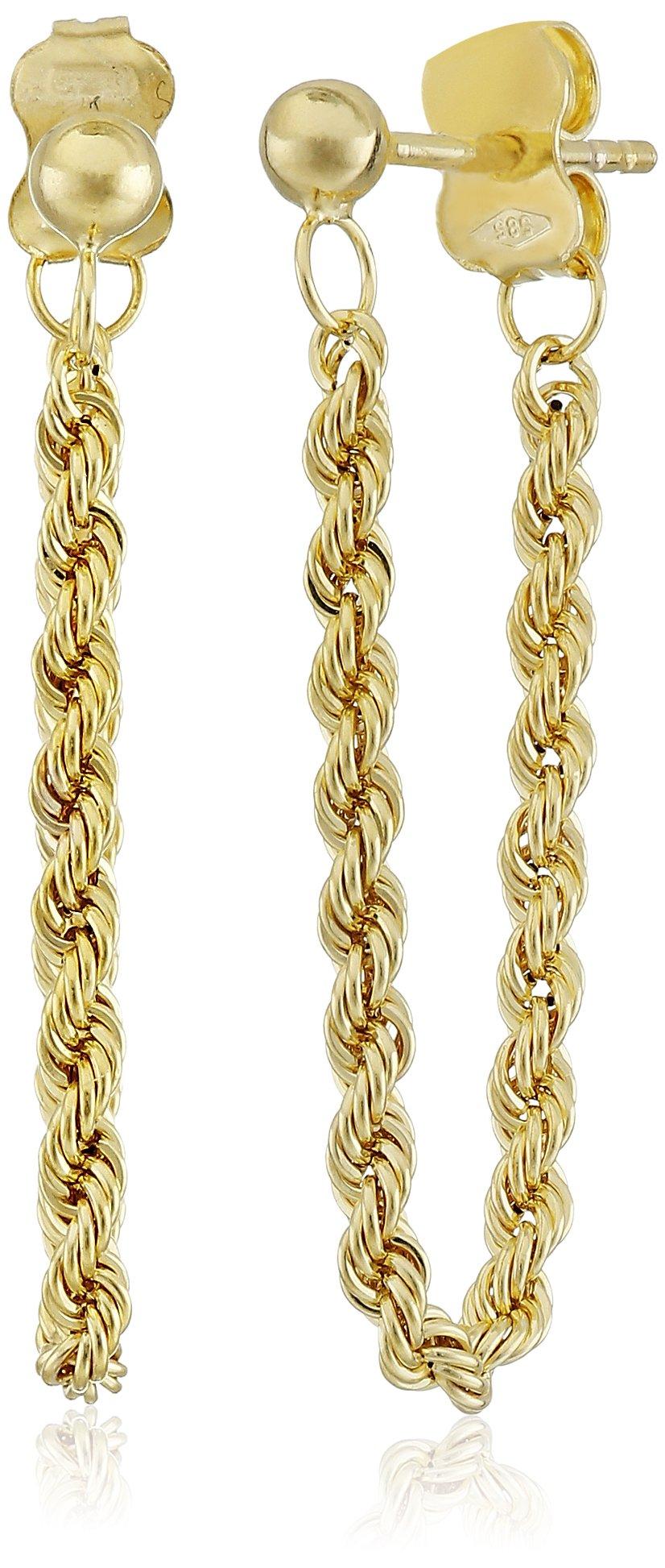14k Yellow Gold Italian Dangling Rope Dangle Earrings