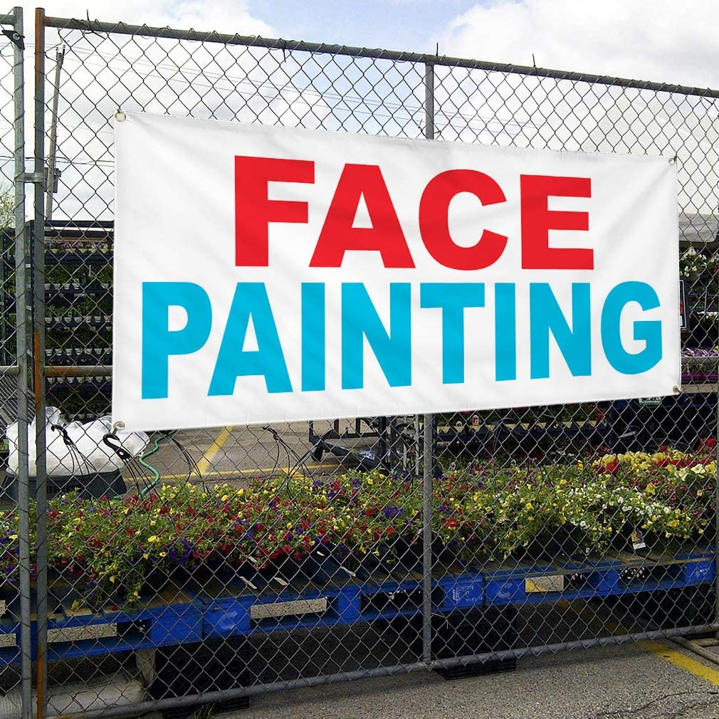 Vinyl Banner Multiple Sizes Face Painting Red Blue Business Outdoor Weatherproof Industrial Yard Signs 8 Grommets 48x96Inches