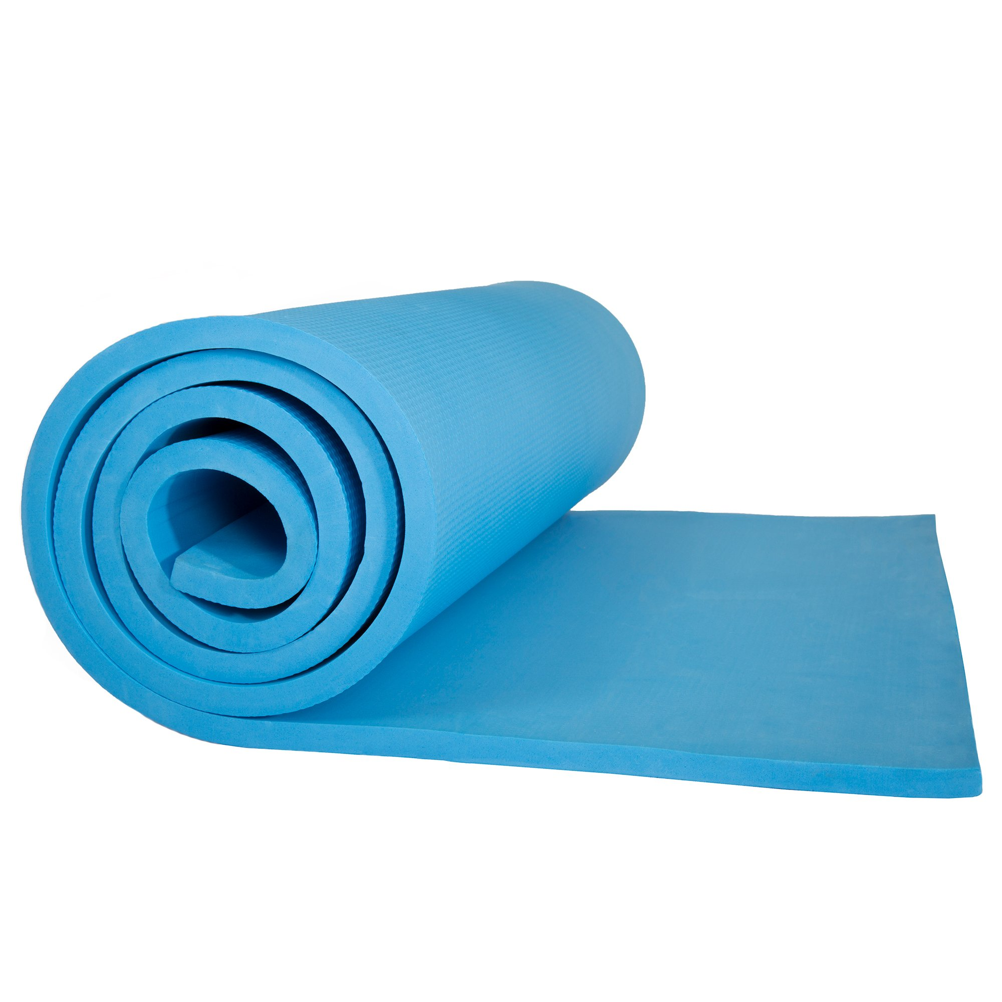 Sleeping Pad, Lightweight Non Slip Foam Mat with Carry Strap by Wakeman Outdoors (Thick Mattress for Camping Hiking Yoga and Backpacking) (Light Blue)
