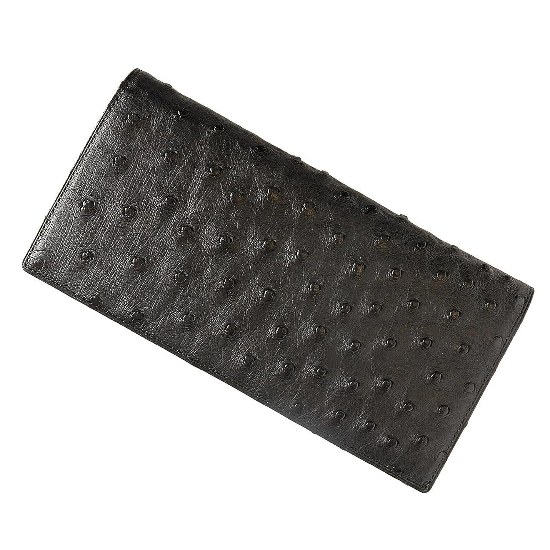 財布 メンズ 長財布 オーストリッチ 日本製 無双 札入れ B00CJSXX5Kブラック ファスナーポケット無し