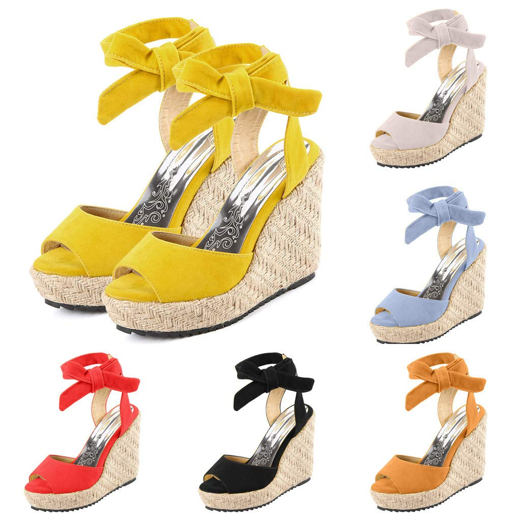 Respctful✿Wedge Sandals for Women's Fashion Flatform Espadrilles Ankle Strap Buckle Open Toe Faux High Heels Beige by Respctful_shoes (Image #6)